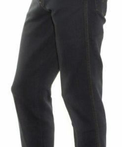 Blåsorte jeans fra Wrangler set fra siden