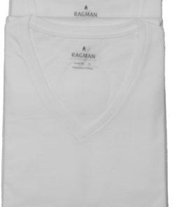 Hvide tshirts med v-hals fra Ragman, 2 pak