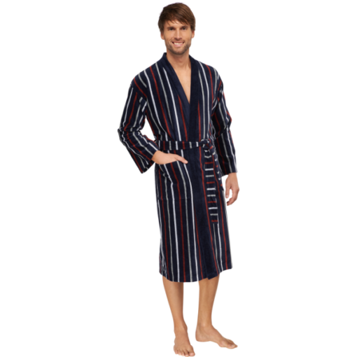 Mørkeblå badekåbe med grå og vinrøde striber